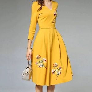 Yellow embroidery dress